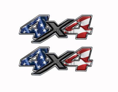 American Flag 4x4-decal Black X