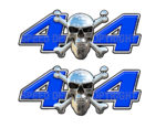 Chrome Skull 4x4 Decals Blue