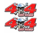 Chrome Skull 4x4 Off Road Decals Red
