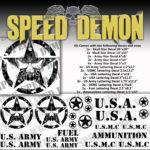 Military Jeep Star Circle Skull Decal Kit Black Vinyl