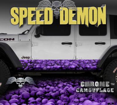 4 Door 2007- 2017 JK Jeep Wrangler Rocker Wrap Purple Skull Crusher