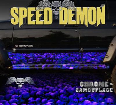 Jeep Cherokee Rocker Wraps Skull Blue with Purple Hue