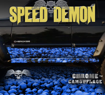 Jeep Cherokee Rocker Panel Wraps Skulls Blue