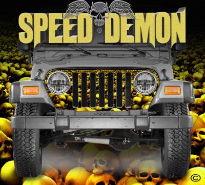 Jeep Wrangler Grill Wraps Skulls Gold