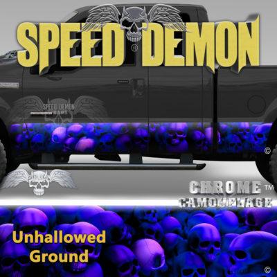 Skull Truck Rocker Panel Wraps-Blue With Purple Hue Skulls Unhallowed Ground